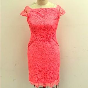 Neon pink dress, perfect for a cocktail party!